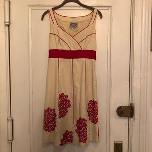 Anthropologie Floreat red&white pocket dress sz 2